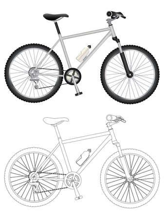 Vector image of mountain bike isolated on white background. Ilustração