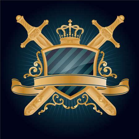 shield and sword: Vector heraldic pattern.