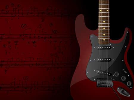 歌: エレクトリック ・ ギターと音符のベクトルの背景。  イラスト・ベクター素材