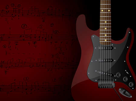 Vector background with electric guitar and musical notes.
