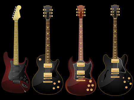 stratocaster: Vector isolated image of electric guitars on black background. Illustration