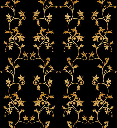 Vector seamless floral pattern on black background. Vector