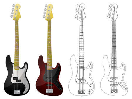 Vector isolated image of bass guitars on white background. Vector