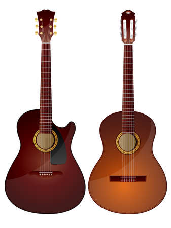 Vector isolated image of acoustic guitars. Stock Vector - 5029473