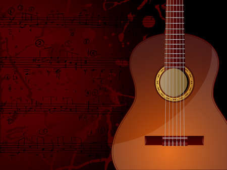 spanish guitar: Vector background with acoustic guitar and musical notes.