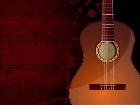 Vector de fondo con guitarra acústica y notas musicales.