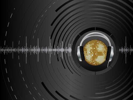 earbud: Vector de fondo abstracto con bola de discoteca.