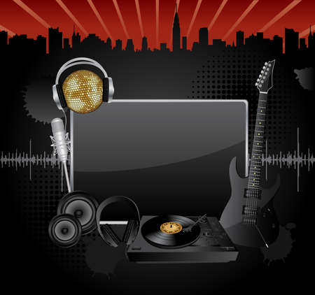 Vector background with the several music objects and banner for your text. Vector