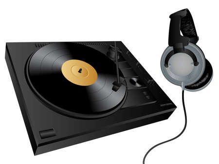 Vector isolated image of turntable and earphones. Vector