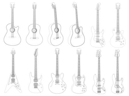 Vector image of the guitars isolated on white. Stock Vector - 5147653
