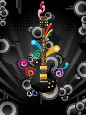 fret: Abstract vector retro background with the guitar.