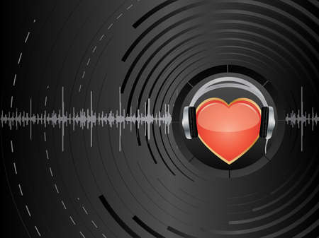 oscillation: Vector abstract background with heart and earphones. Illustration
