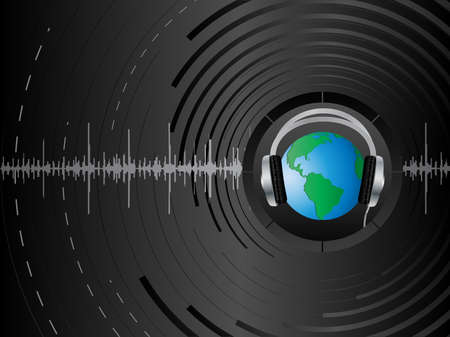 Vector abstract background with the earth and headphones. Vector