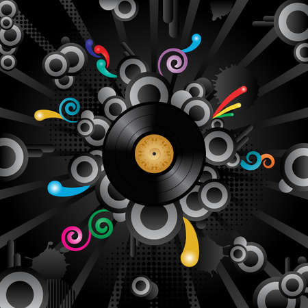 Abstract vector retro background with the vinyl disc. Vector
