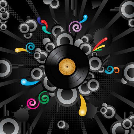 scheibe: Abstract Vector retro Hintergrund mit der Vinyl-Disc.  Illustration