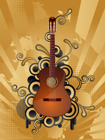 Abstract vector retro background with the guitar. Vector