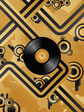 Abstract vector retro background with the vinyl disс. Vector