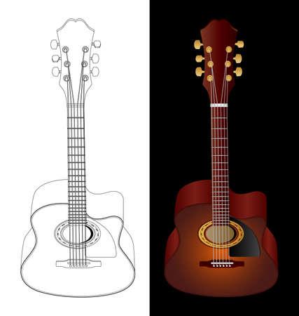 nylon: Vector isolated image of acoustic guitars. Illustration
