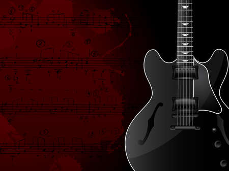 Vector background with the guitar and musical notes. Vector