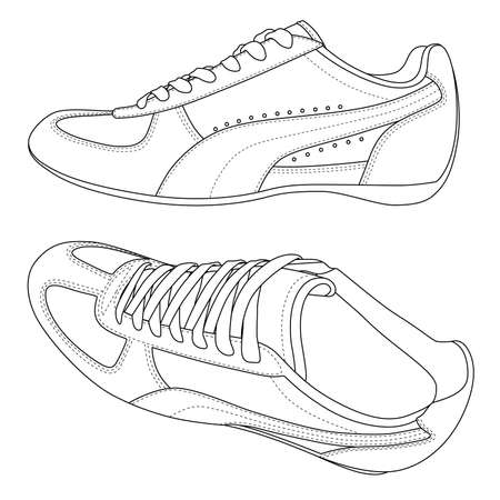 footgear: Vector isolated image of sport shoes.