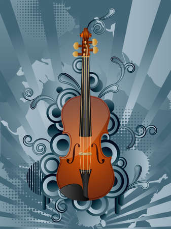 Abstract vector retro background with the violin. Vector