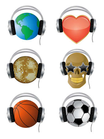 A set of vector icons with the headphones.