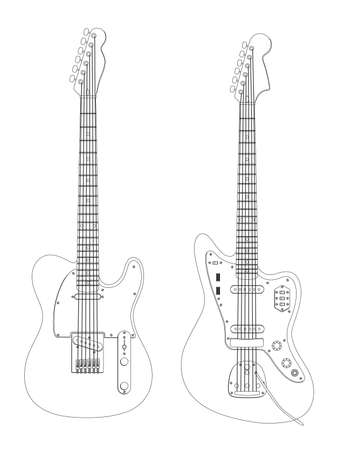 Vector image of the guitars isolated on white.