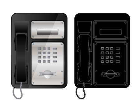 payphone: Vector icons of telephone isolated on white. Illustration