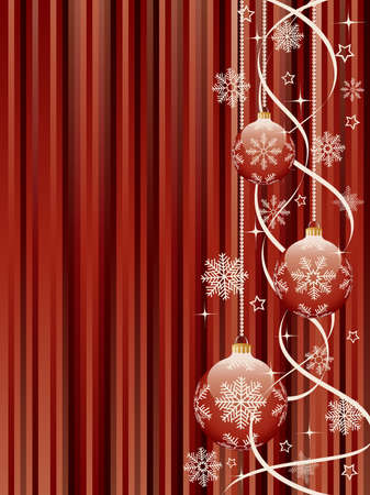 Christmas background with a holiday baubles.  Vector