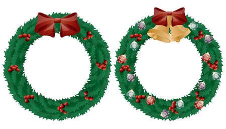 ilex: Christmas holly wreath isolated on white background.
