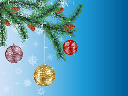 Christmas background with a fir tree and a disco balls. Vector