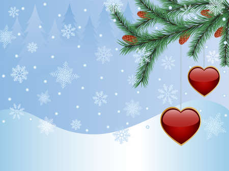new plant: Winter background with a fir tree and a glossy hearts.