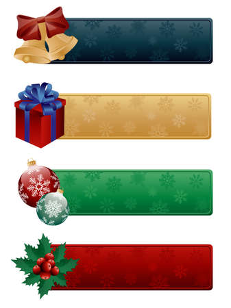 ilex: Banners with a christmas decoration. illustration.