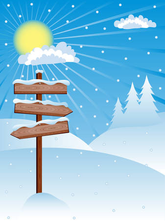 new plant: Winter background with a wooden banners. illustration.