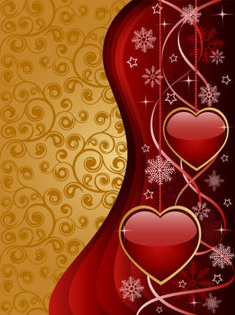 Abstract background with a glossy hearts Vector