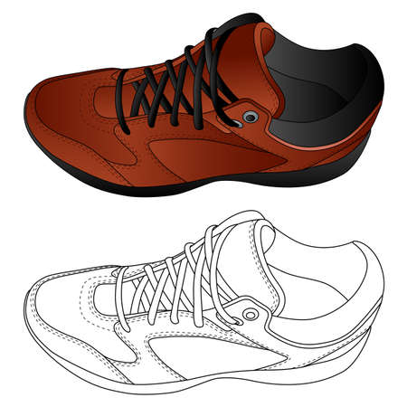 The image of sport shoes. Vector