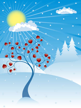 Winter background with a valentine tree Vector