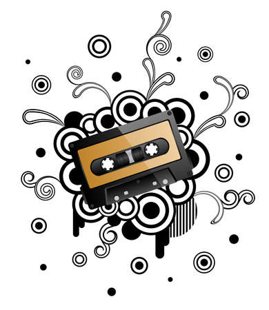 Abstract retro background with audio tape. Vector illustration. Vector