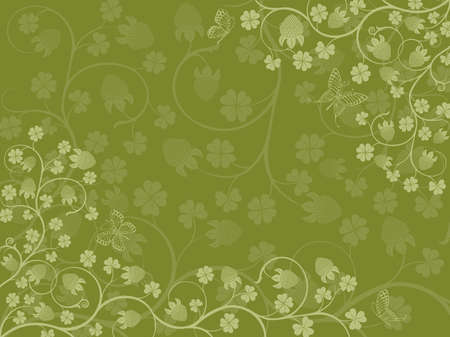 Floral background with a clover. illustration. Stock Vector - 6436905