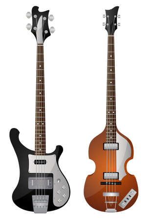 bass guitar: Isolated image of vintage bass guitars Illustration
