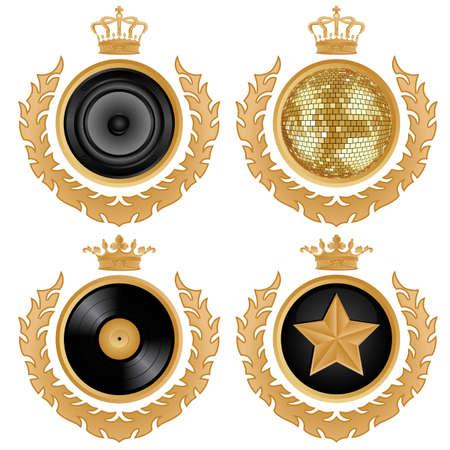 disco speaker: Coat of arms.  illustration. Illustration