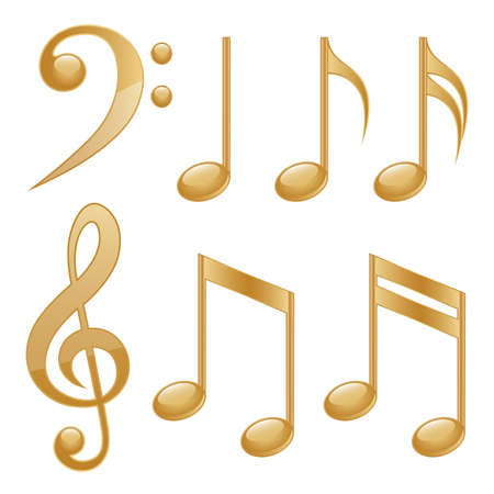 notes music: Gold icons of a music notes
