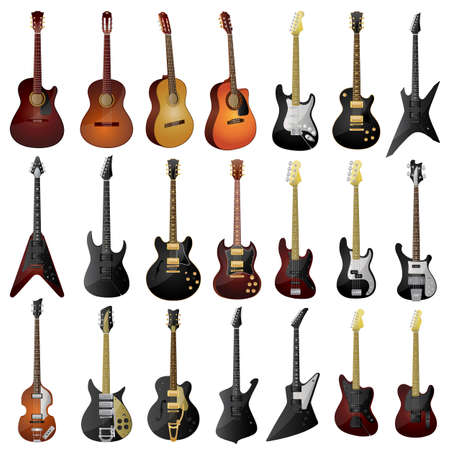 stratocaster: Set of isolated guitars.
