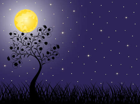 moon flower: Night background with a tree.