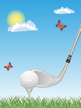 putter: Sport background with a putter and a golf ball.
