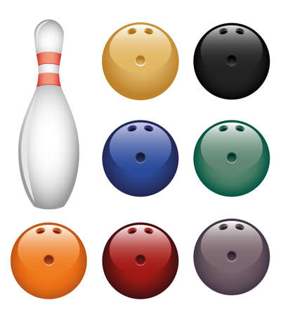 bowling pin: Isolated image of a bowling pin and a balls.