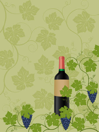Floral background with a bottle of wine Vector