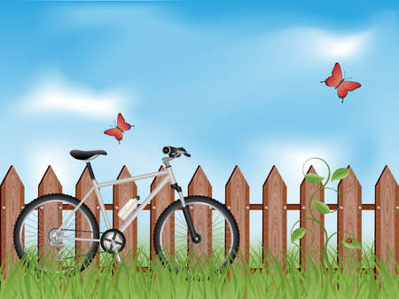 Summer background with a bike Vector