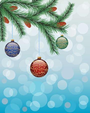 fir twig: Christmas background with a fir twig