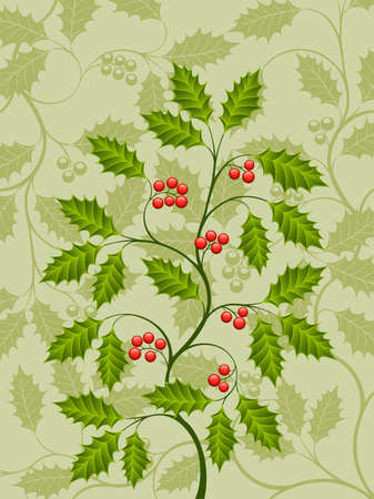 holly leaves: Abstract background with a holly branch